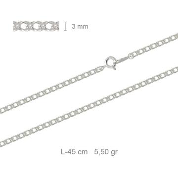 Foto de Cadena de plata doble rombo 45cm
