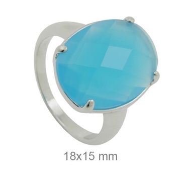 Sortija plata con piedra azul