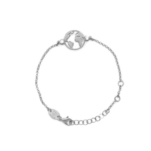 Pulsera de plata con diseño del mundo